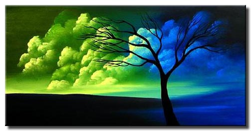 blue and green landscape painting