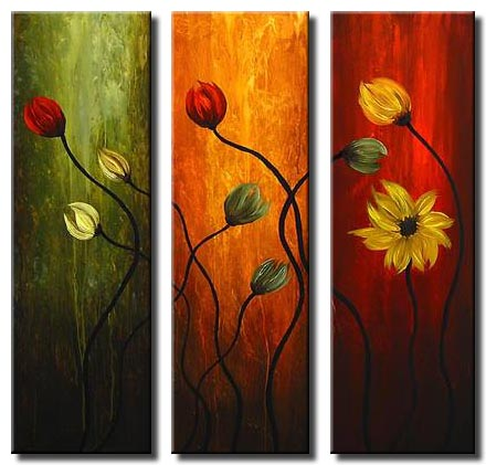 triptych floral painting