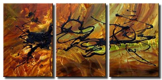 triptych brown green abstract painting