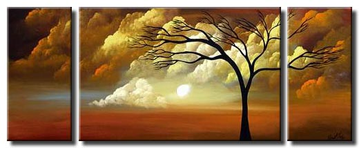 triptych abstract landscape painting