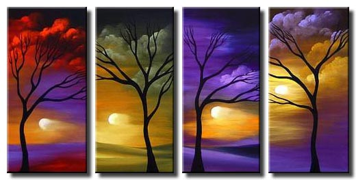 multi panel four trees landscape