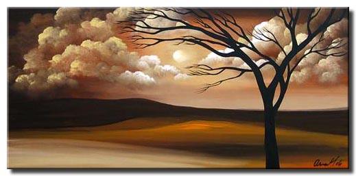 clouds and trees abstract painting