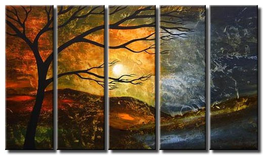 multi panel abstract tree painting