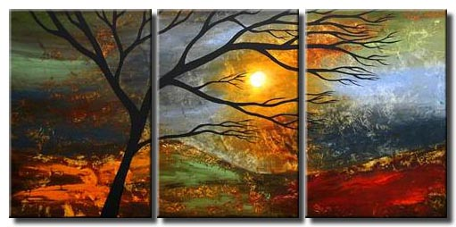 triptych canvas sunrise