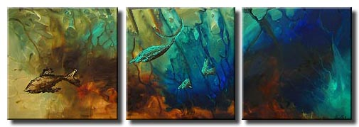 triptych canvas seascape painting