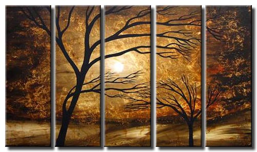 multi panel brown landscape art