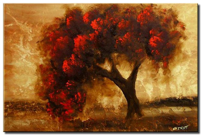 red tree painting
