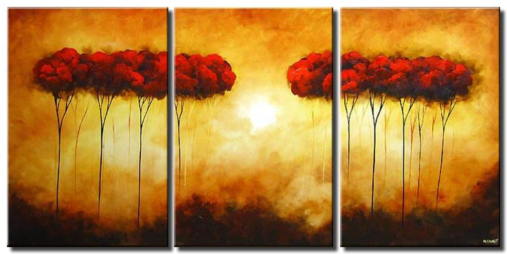 triptych blooming trees