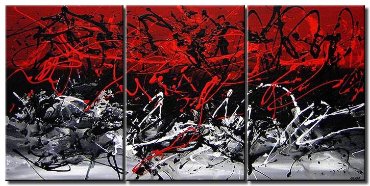 Black And White Abstract Art With Red
