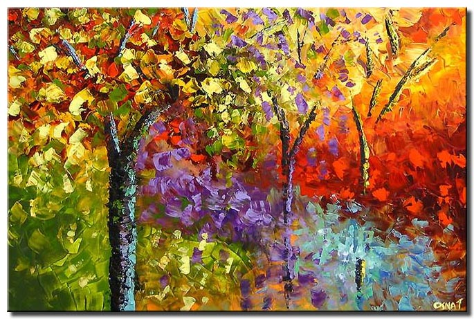 bold colorful forest by the creek