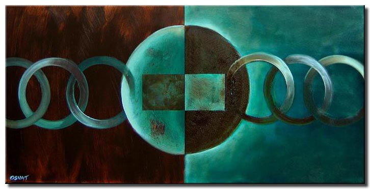 brown turquoise geometrical painting