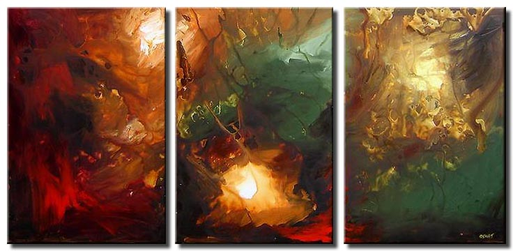 triptych red abstract
