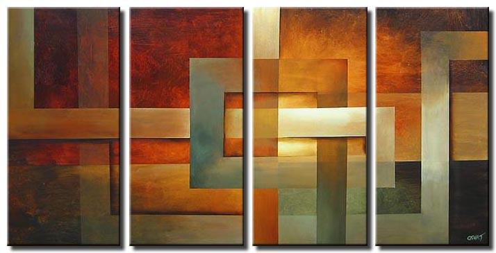 multi panel earth tones geometric art