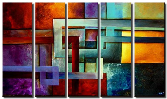 multi panel modern vertical geometric art