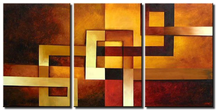modern geometrical triptych painting