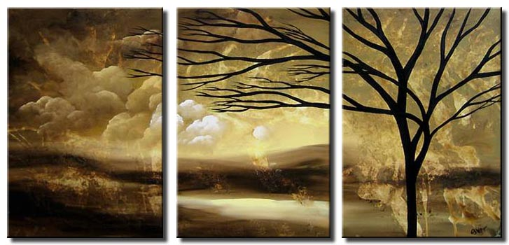 lonely tree landscape triptych