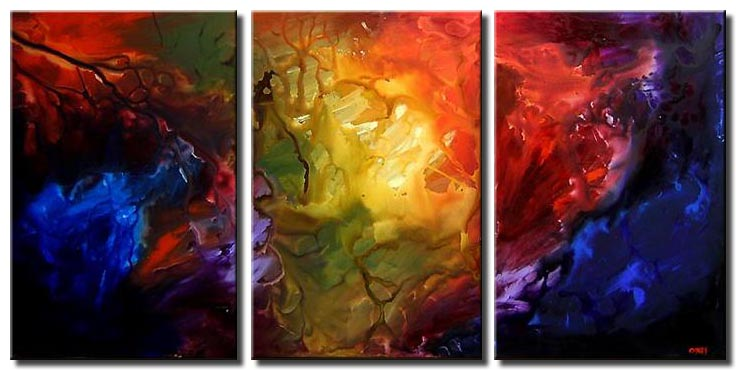 abstract painting red blue yellow large triptych