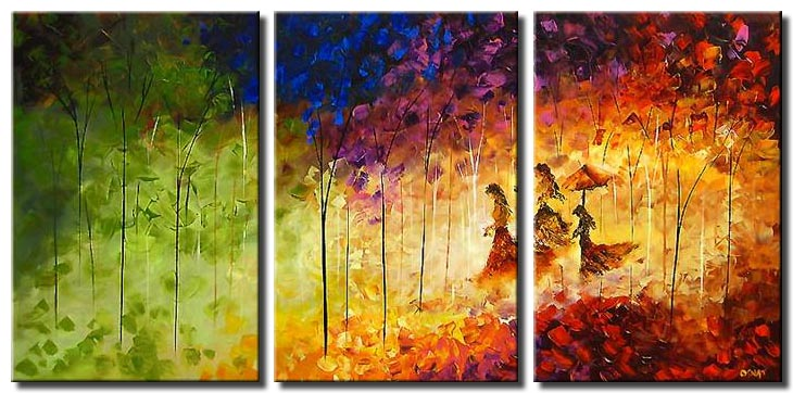 angles by my side coloful forest triptych