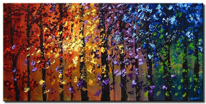 colorful abstract blooming trees landscape