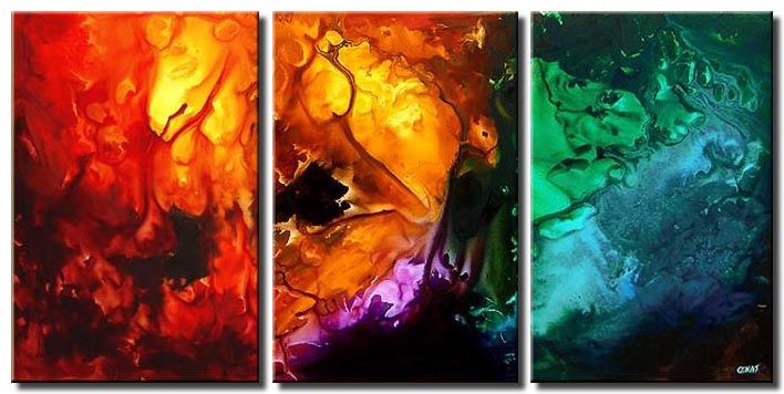 bold abstract triptych painting