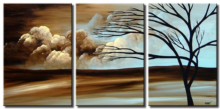 triptych painting of a desert tree