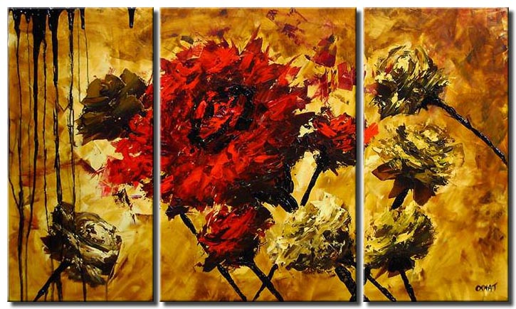 triptych painting of the best flower