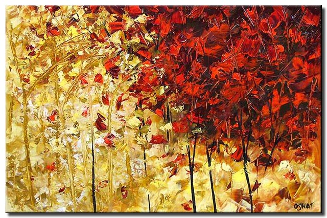 abstract paiting of a yellow and red trees