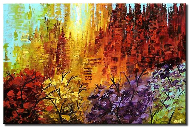 abstract painting of the colorful park