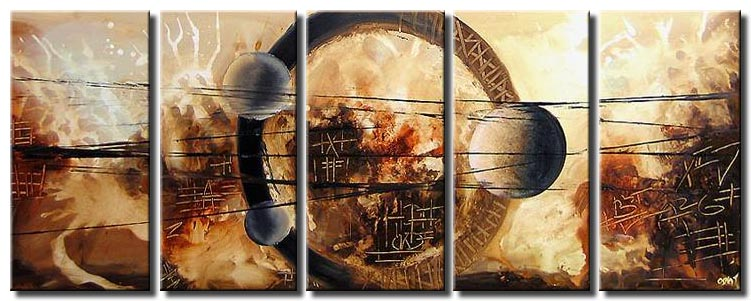 multi panel geometric abstract painting