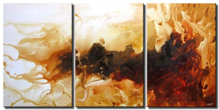triptych white red brown abstract