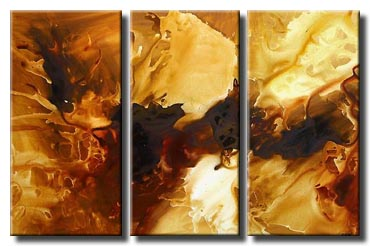 triptych sandy brown abstract