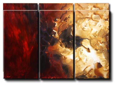 triptych red modern painting