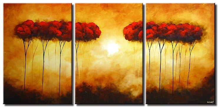 triptych painting of red trees