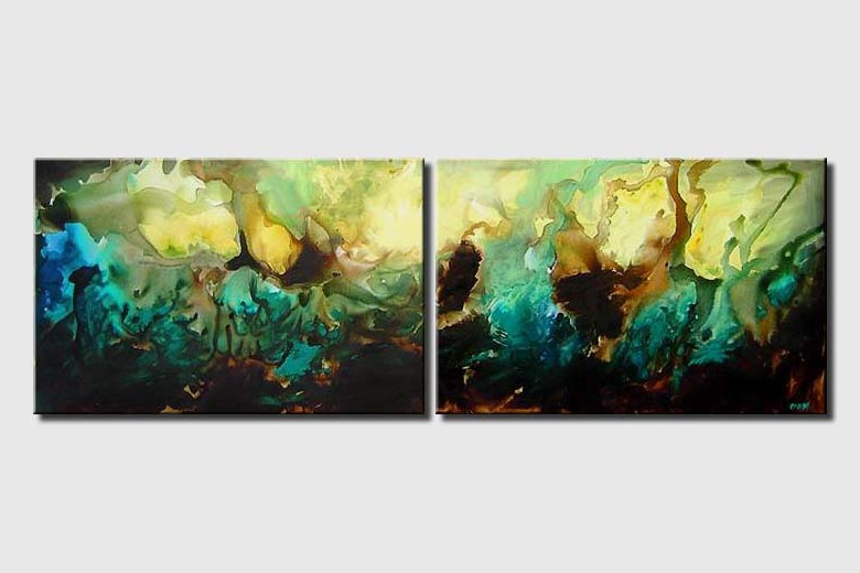 diptych turquoise modern decor