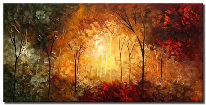 large forest painting trees home-décor