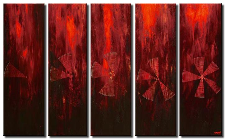 multi panel red abstract monochromatic
