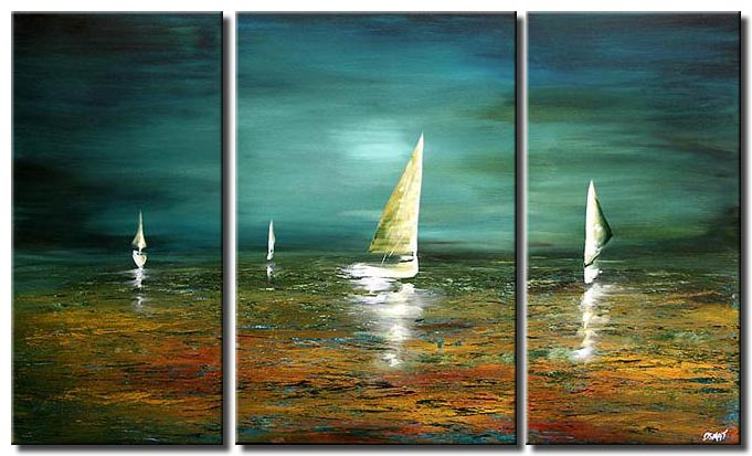 multi panel canvas landscape boats in sea