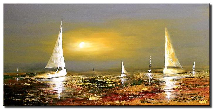 boats on water landscape painting