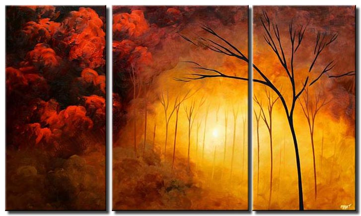 forest tree clouds triptych