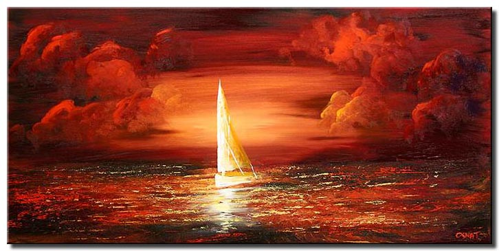 sailing boat red clouds monochromatic