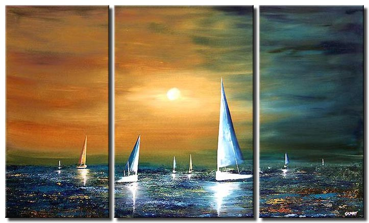 sailing boats triptych canvas sunset