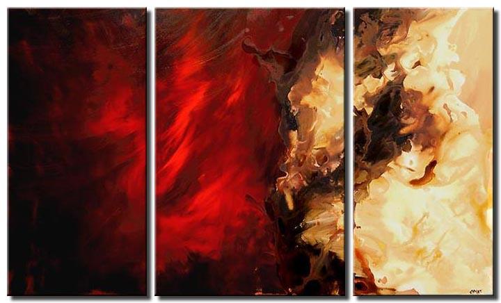 modern red painting abstract triptych
