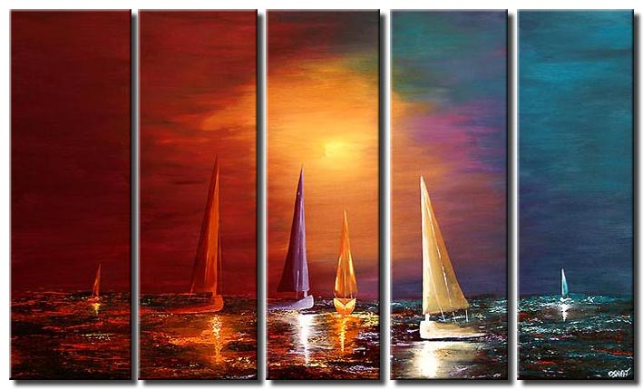 sailing boats landscape colorful sunrise