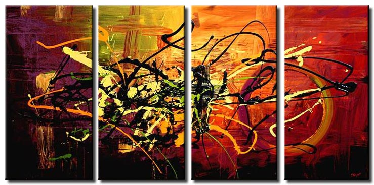 multi panel colorful abstract contemporary painting