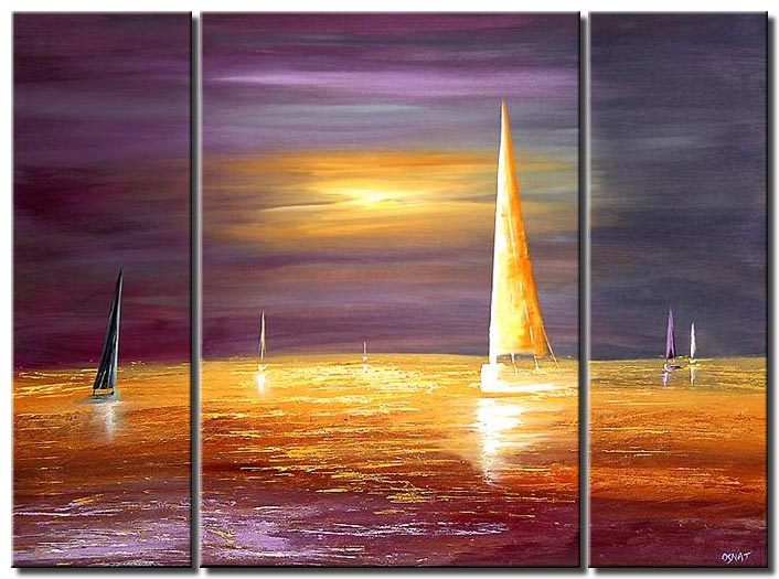 wind sailboat abstract landscape triptych colorful