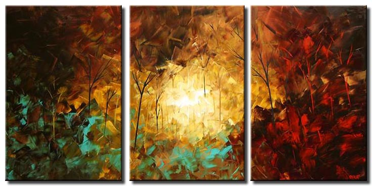 palette knife triptych canvas landscape forest