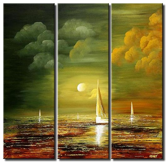 storm sail boat vertical triptych