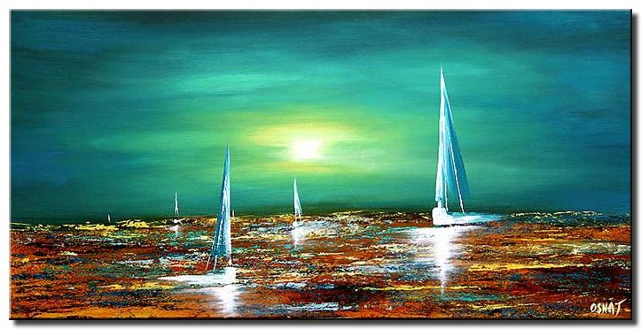 the diamond sea sail boats abstract