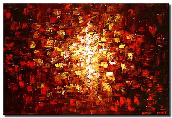 colorful painting red and yellow spark art