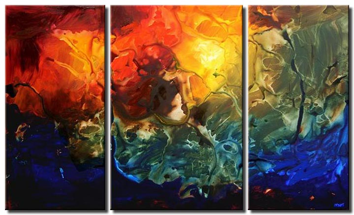 bold colorful painting triptych abstract